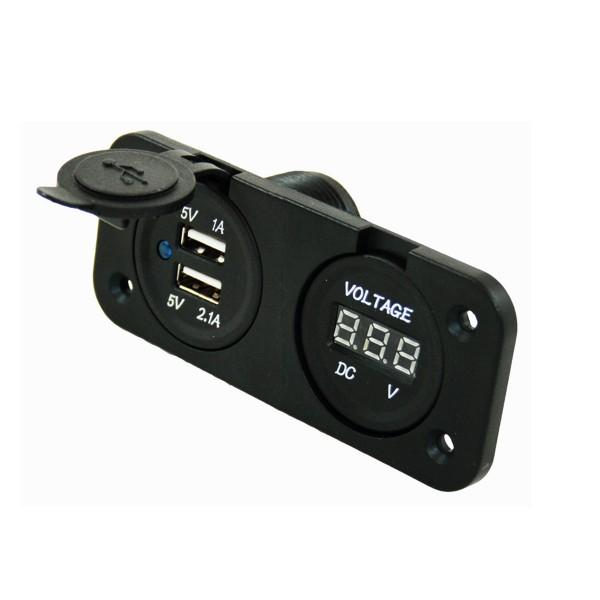 Doppel USB Einbausteckdose mit Batterie - Spannungsanzeige - 12V - 2,1A + 1A Ladestrom