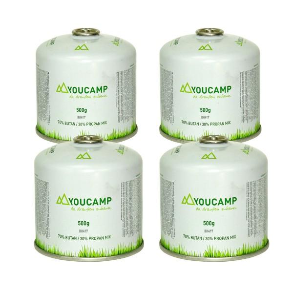 YOUCAMP 4x  YC500 Ventil-Gas-Kartuschen (500g Butan-Propan-Gemisch) - EN417 Gewinde