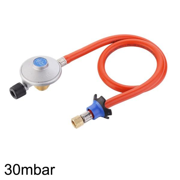 EN417 Gewindekartuschenregler - 30mbar - inkl. 85cm Gasschlauch - Für LP Niederdruckgeräte