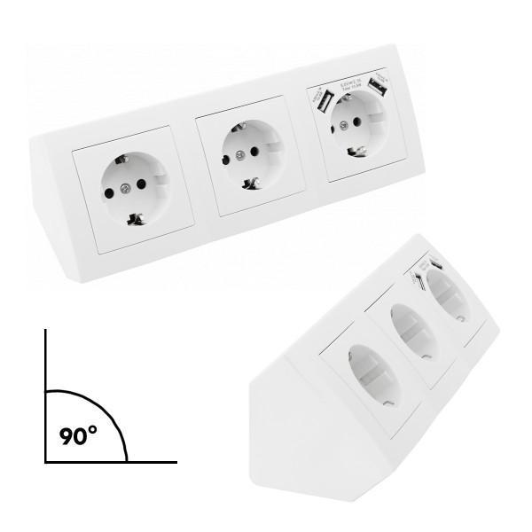 Steckdosenblock 3fach + 2 USB - Winkelmontage - Ideal für Küche, Werkstatt und Büro