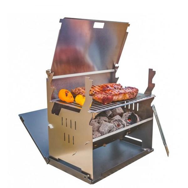 FENNEK - Outdoor Grill - 100% Edelstahl - zerlegbar - Grillfläche 27 x 18,3cm