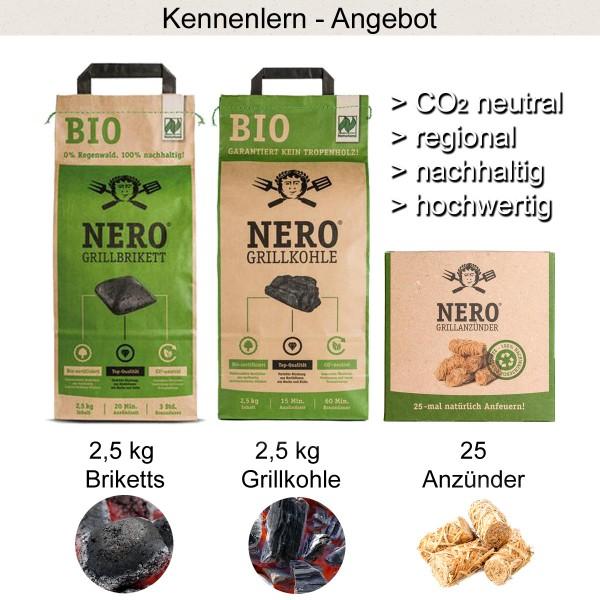 NERO Kennenlern Set - 2,5kg BIO Holzkohle, 2,5kg BIO Grillbriketts, 25 Anzünder aus Holzwolle