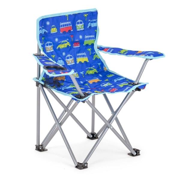 """VW Collection - VW Kinder Campingstuhl blau """"BULLI/BEETLE"""" - faltbarer Stahlrahmen - max 50kg"""
