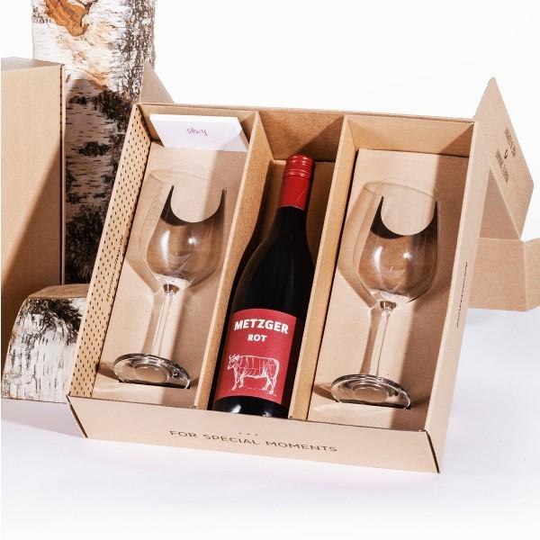 SILWY Geniesser Set - 2 x Kristallgläser Wein + Metall-Nano-Gel-Pads + METZGER Rotwein - Geschenkbox