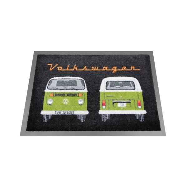 "Fußmatte ""VW T2 Bus grün"" - 70 x 50cm - 100% Nylon, waschbar, PVC Rücken - MADE IN EU"