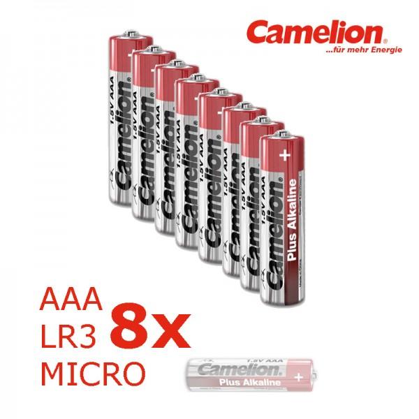 Batterie Mignon AAA LR3 1,5V PLUS Alkaline - Leistung auf Dauer - 8 Stück - CAMELION