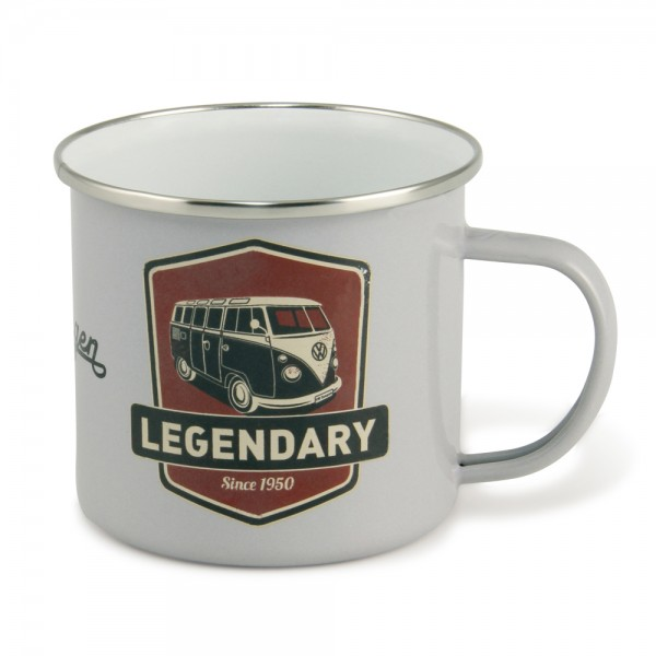 "VW Collection Emaille Tasse ""VINTAGE LOGO GREY"" - 500ml - mit Edelstahlrand"
