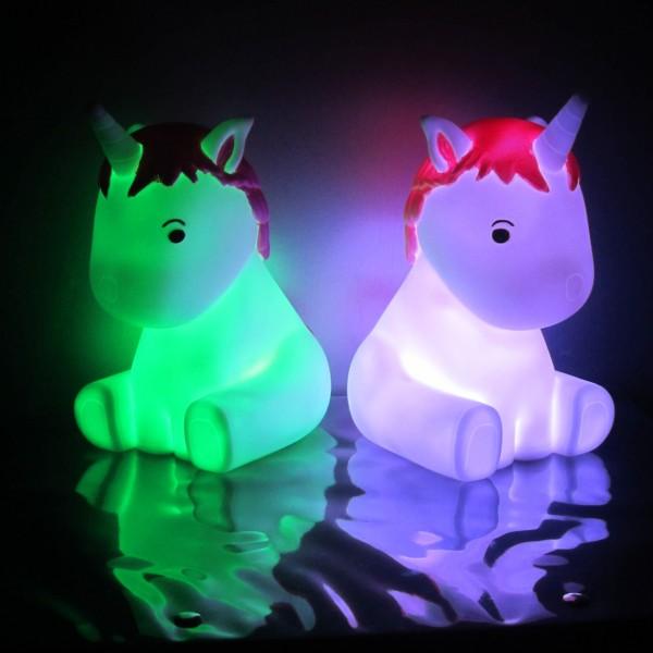 """Einschlaflicht / Nachtlicht """"Einhorn LILLY"""" - LED Farbwechsel - Batterielicht mit Automatik Timer"""