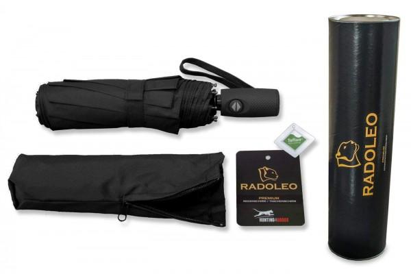 RADOLEO® Schwarzer Taschenschirm Geschenkbox   Automatik   Windstabil bis 140 km/h   Teflon