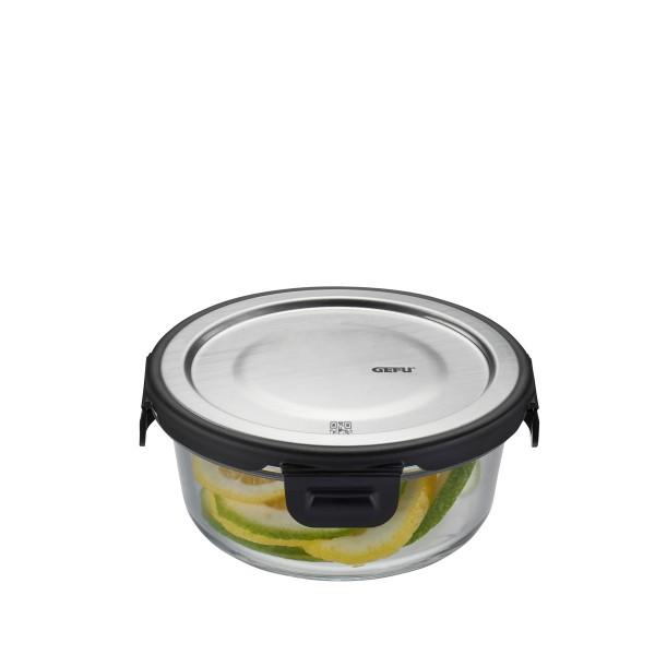 Frischhaltedose MILO - Borosilikatglasbehälter mit Edelstahldeckel - rund - 400 ml