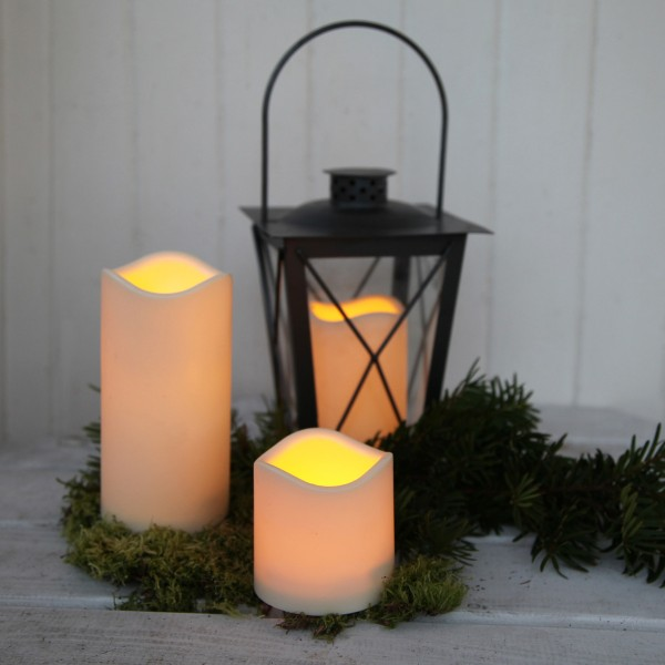 "LED Stumpenkerze ""Paul"" - flackernde LED - H: 11,5cm - Batteriebetrieb - Timer - outdoor - creme"
