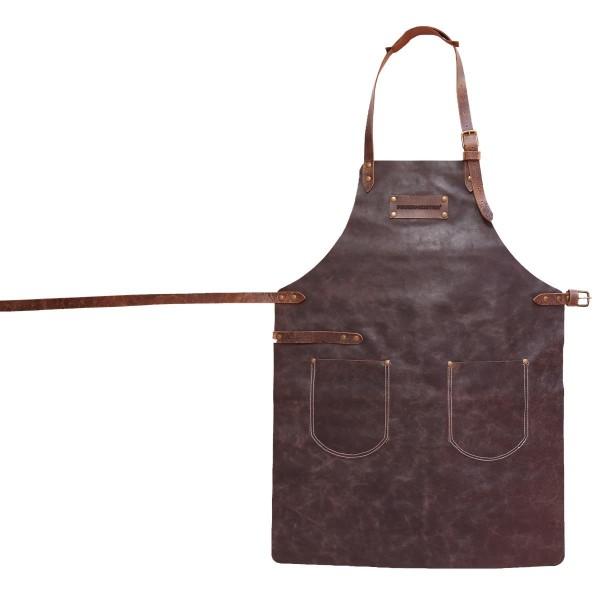 FEUERMEISTER Lederschürze in Antikleder Farbe Braun mit 2 Taschen Größe 3