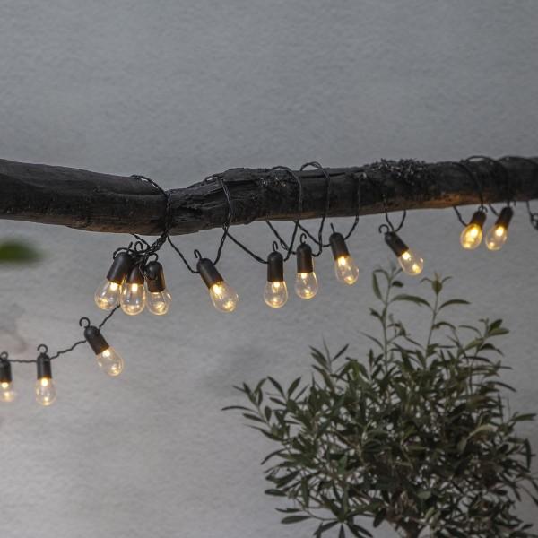 LED Partylichterkette - 16 kleine transparente Kugeln - L: 4,5m - schwarzes Kabel - outdoor