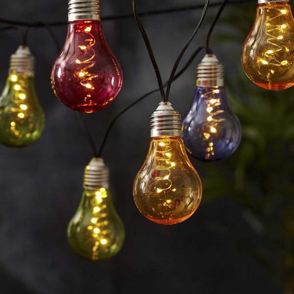 LED Lichterkette GLOW - Solar - Outdoor - 10 warmweiße LED - L: 1,9m - Lichtsensor - bunt
