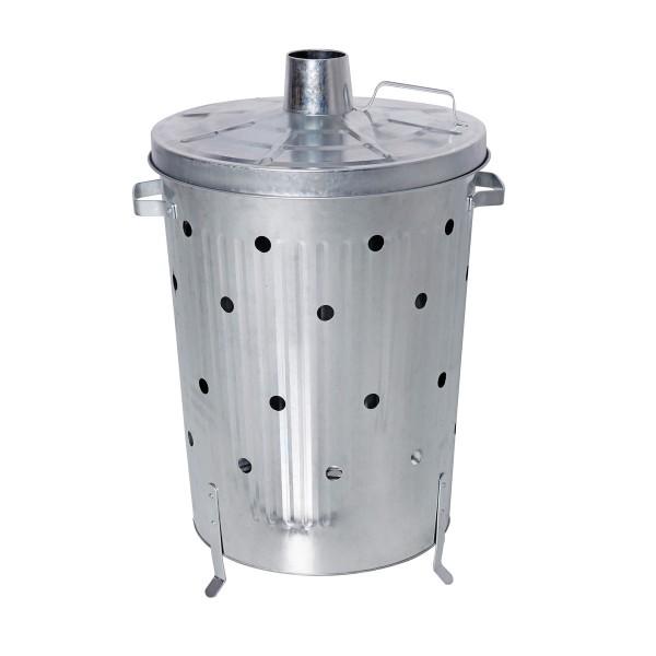 Verbrennungstonne verzinkt - 75 Liter - D: 44cm - H: 71,5cm - Deckel, Griffe und Füße