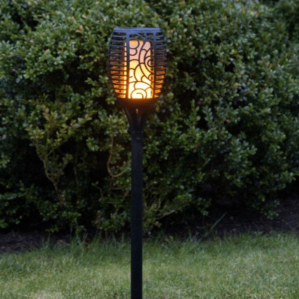"LED Solar Fackel ""Flame"" - LED mit bewegtem Feuereffekt - H: 57cm - Lichtsensor - inkl. Wandmontage"