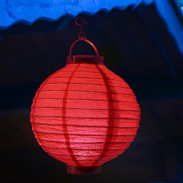 LED Lampion FESTIVAL - kaltweiße LED - D: 30cm - Montagehaken - rot