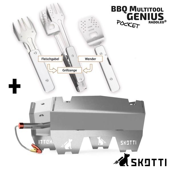 SKOTTI + GENIUS POCKET Set - Premium Kompaktgrill + Edelstahl BBQ Klappbesteck 4-in-1
