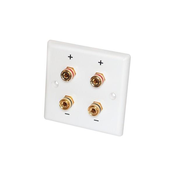Lautsprecher Anschlussterminal Wand - 4 vergoldete Kontakte - 85x85mm
