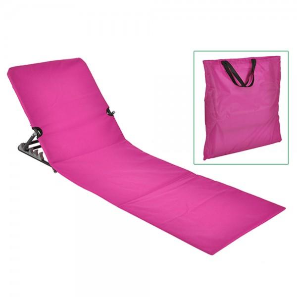 Strandliege klappbar pink - inkl. praktischer Umhängetasche - 145 x  47 x 42cm