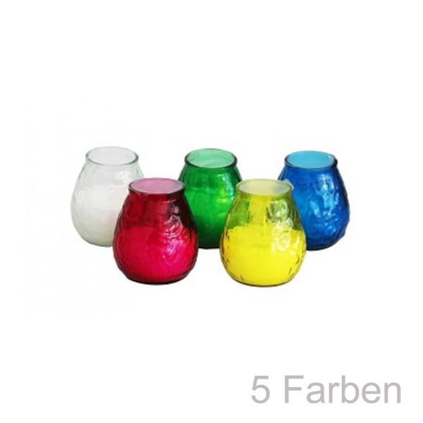 5er Set Kerzen im bunten Glas - Citronella - gegen Stechmücken - +/-50 Stunden