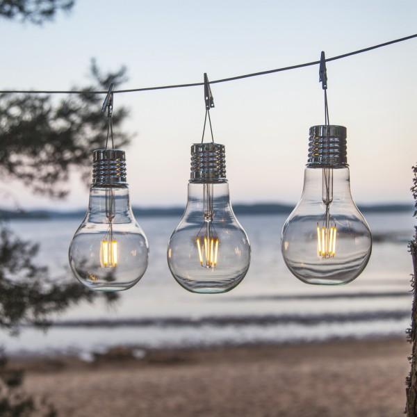 LED Solar XL Glühbirne - warmweißes Filament - H: 18cm - Dämmerungssensor - outdoor - 3 Stück