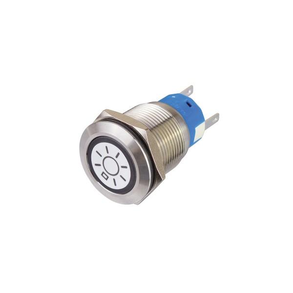Metalltaster beleuchtet - mit LICHT Symbol - max 230V 5A - IP67 - 19mm Einbaudurchmesser