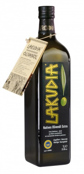 LAKUDIA 1 Liter Olivenöl Nativ Extra mit Ölspender
