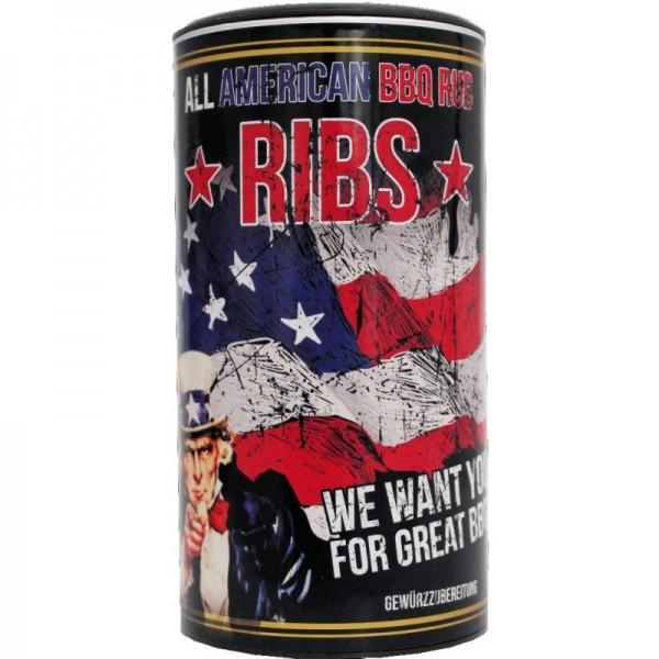 All American Ribs, BBQ Rub 350g Streuer