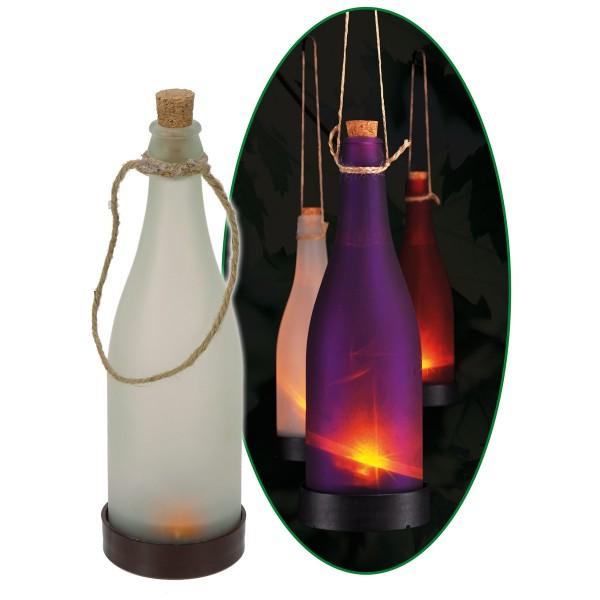 LED Solar Flasche violett - Dekoleuchte für Garten - gelb flackernde LED