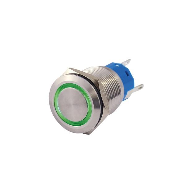 Metallschalter beleuchtet - mit grünem Leuchtring - max 230V 5A - IP67 - 19mm Einbaudurchmesser