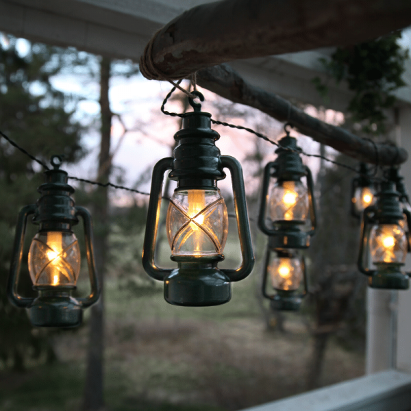 """LED Lichterkette """"Laterne"""" - 8 grüne Laternen mit warmweißer LED - L: 2,8m - outdoor - mit Haken"""