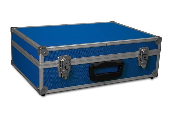 GORANDO® Transportkoffer mit Aluminiumrahmen | 440x300x130mm | Koffer für Werkzeuge, Kameras, Messgeräte etc. | bis 10kg blau