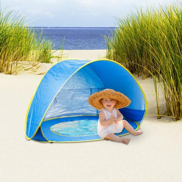 Pop Up Strandmuschel für Kinder mit Badewanne UV50+ Schutz
