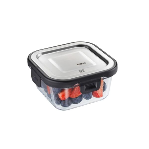 Frischhaltedose MILO - Borosilikatglasbehälter mit Edelstahldeckel - quadratisch - 300 ml