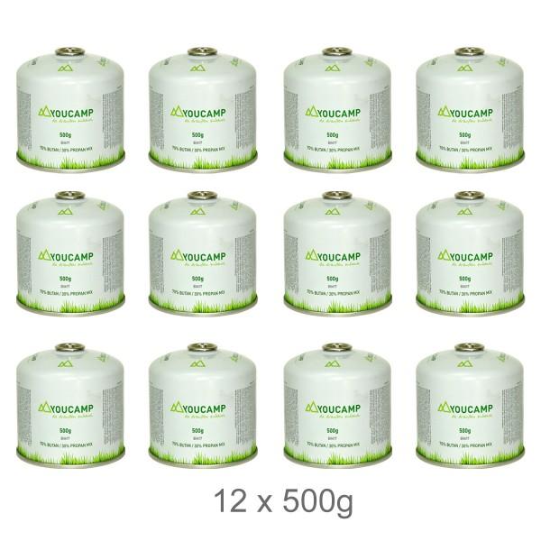 YOUCAMP 12x  YC500 Ventil-Gas-Kartuschen (500g Butan-Propan-Gemisch) - EN417 Gewinde