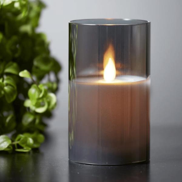 """LED Kerze/Windlicht """"Twinkle"""" - Echtwachs - mechanische Flamme - Timer - H: 10cm - rauchschwarz"""