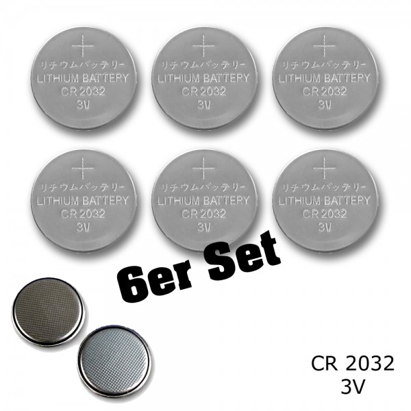 6 Stück - Knopfzelle - CR2032 Batterie - 3V