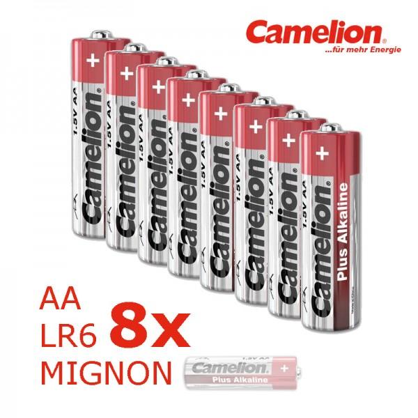 Batterie Mignon AA LR6 1,5V PLUS Alkaline - Leistung auf Dauer - 8 Stück - CAMELION