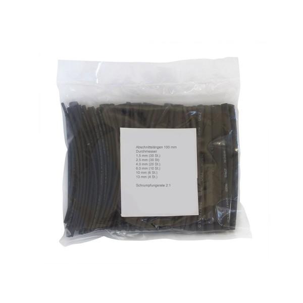 Schrumpfschlauch Sortiment 100-teilig - schwarz - 2:1 - 100mm Abschnitte - versch.- Größen