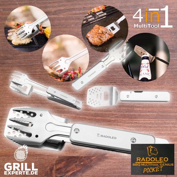 B-Ware RADOLEO® Grill-Multi-Tool GENIUS POCKET Grillbesteck   Zange, Wender, Gabel, Flaschenöffner - 4in1